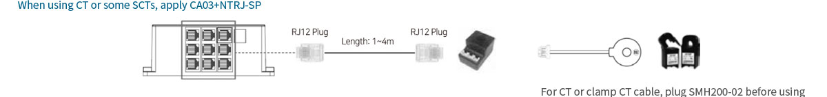 When using CT or some SCTs, apply CA03+NTRJ-SP. For CT or clamp CT cable, plug SMH200-02 before using